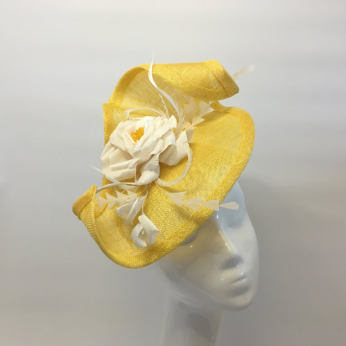 Beth - Yellow sinamay headpiece on a yellow base with white handmade silk rose