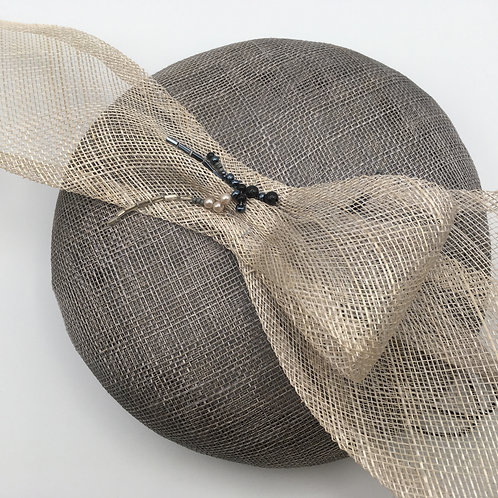 Bows and Beads - Grey simamay button fascinator