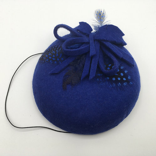 Olivia - Small royal blue felt fascinator button trimmed with feathers and felt