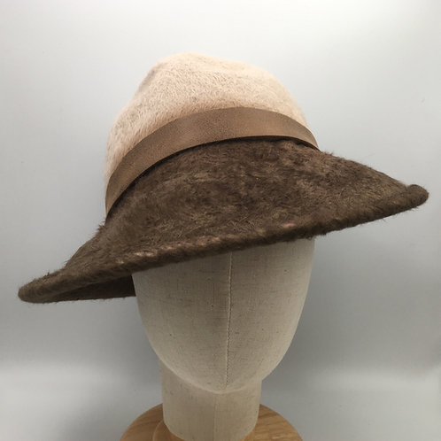 Frances - Brown and beige Melusine fur felt trilby with leather trim
