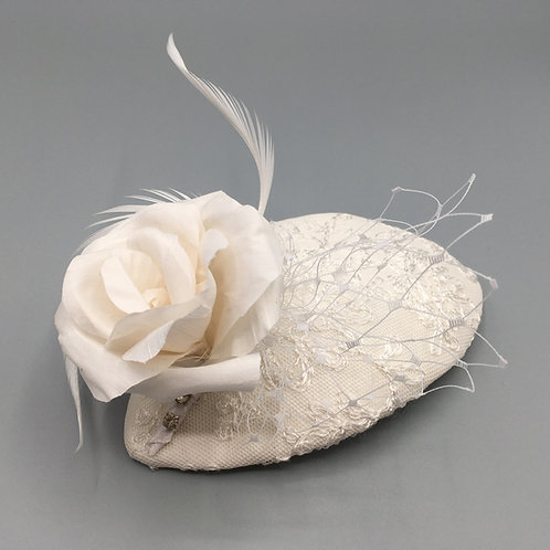 Patricia -Bridal  oval fascinator covered in ivory silk and lace