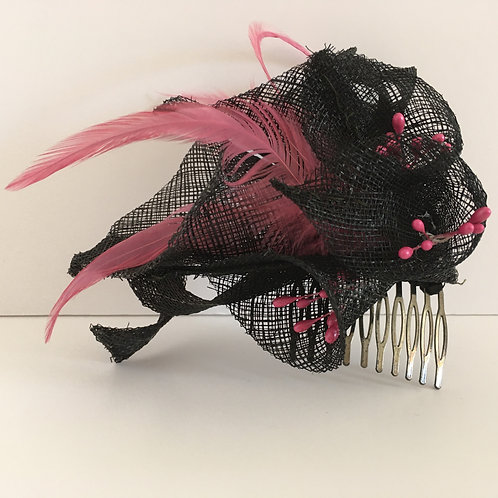 Bess   Black sinamay lily  fascinator trimmed with shocking pink feathers