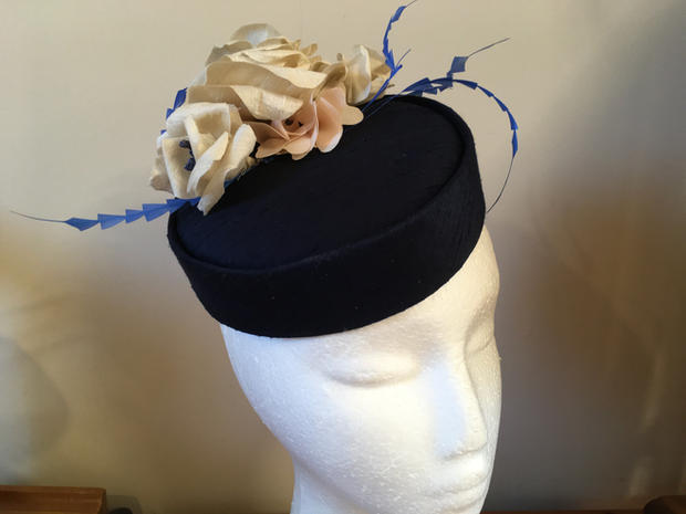 Navy silk pill box hat