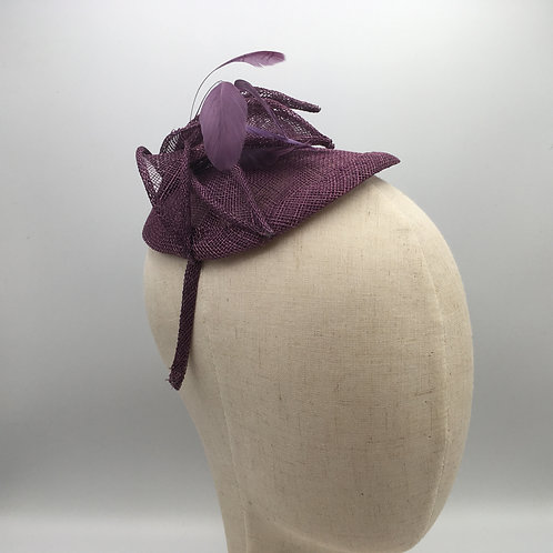 Nancy- Purple sinamay fascinator trimmed with feathers and sinamay