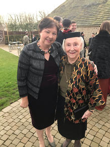 Pauline at grandaughter's wedding with Janet
