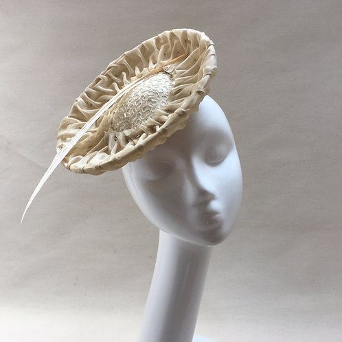 Beads - Small saucer in pleated ivory organza with a bead centre and a feather