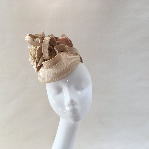Gillian - Cream paradisal straw fascinator  with handmade silk flowers