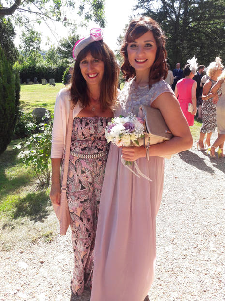 Caroline  at a wedding with her daughter in August  2016
