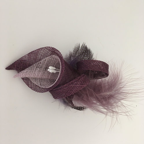 Ava -Purple and lilac sinamay lily fascinator with feather on a clip