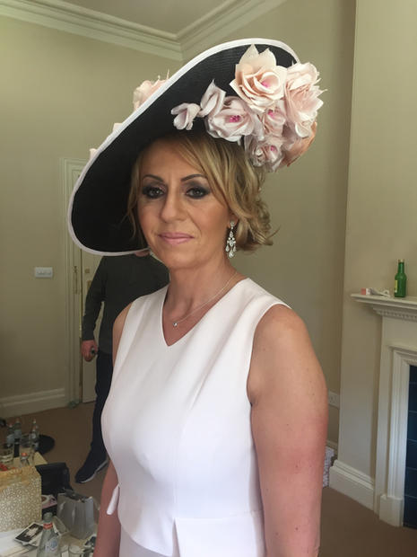 Beverely. Mother of the Bride,  in straw and silk saucer hat