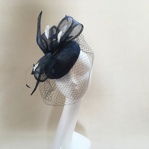 Angela - Navy sinamay button with feathers, and sinamay bow