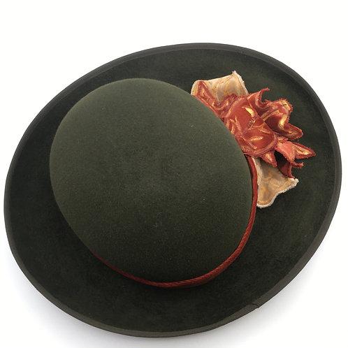 Autumn leaves - Green peach-bloom fur felt hat