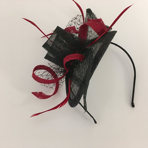 Lexi - Black and red sinamay fascinator on a covered headband