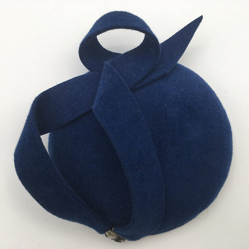 Amelia - French navy blue felt button fascinator trimmed with felt and beads