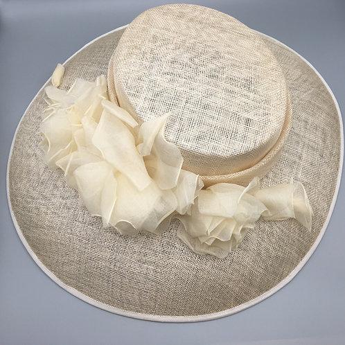 Charlotte - Cream sinamay hatwith handmade cream organdie flowers