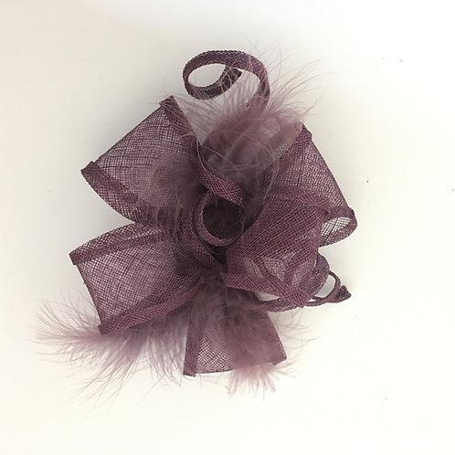 Diana -Purple sinamay fascinator trimmed with feathers and Purple sinamay bows