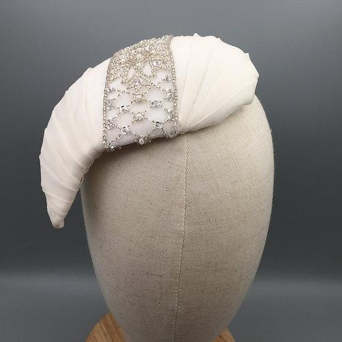 Sherri - Pleated ivory silk organza teardrop shaped fascinator with beaded trim