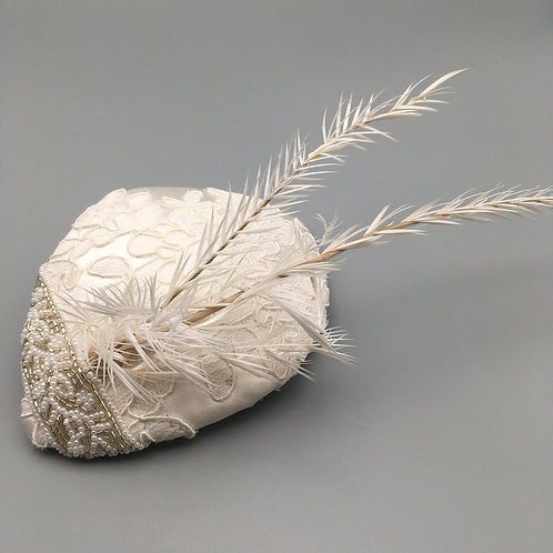 Whitney - White silk and lace fascinator with beads and feathers