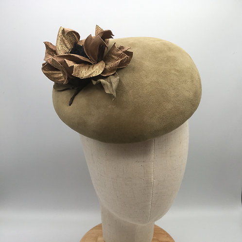 Karen - Large sage green suede button with gold coloured leather flowers