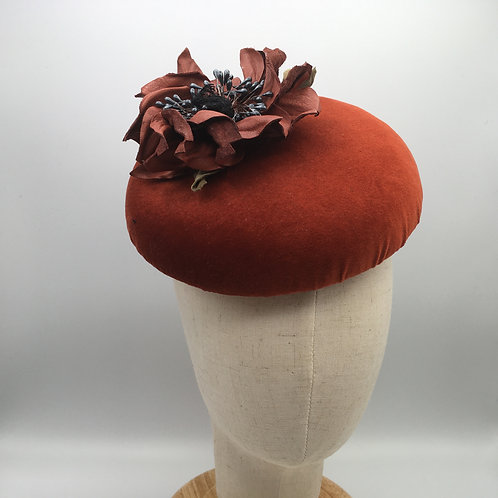 Carol - Large rust velvet button headpiece  with rust leather flower