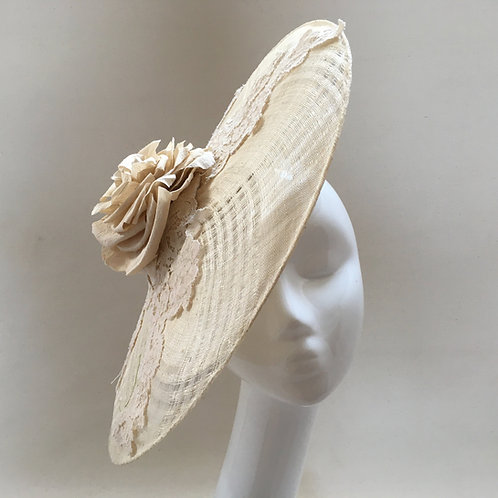 Maggie - Basket weave ivory sinamay saucer headpiece with lace and  silk rose