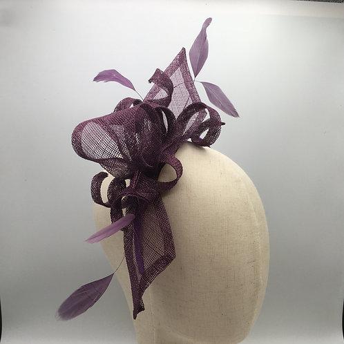 Lottie -Purple sinamay bows, loops and feathers on a purple headband