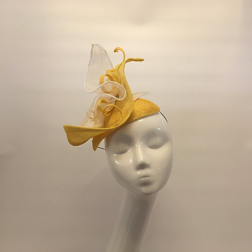 Emma -Yellow sinamay headpiece trimmed with white and yellow