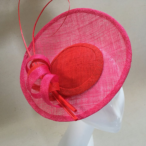 Anne - shocking pink and red saucer with quills