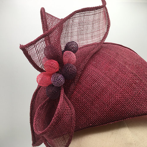 Katherine - Halo hat in burgundy sinamay with sinamay trim