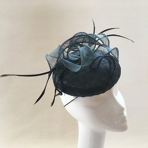 Waves - Navy and petrol blue sinamay button fascinator