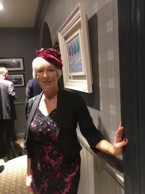 Gill in velvet headpiece at a winter wedding