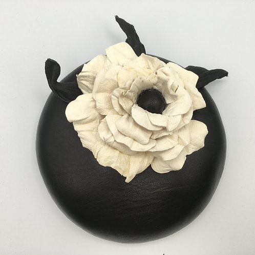 Penelope - Black leather button fascinator with a cream leather rose