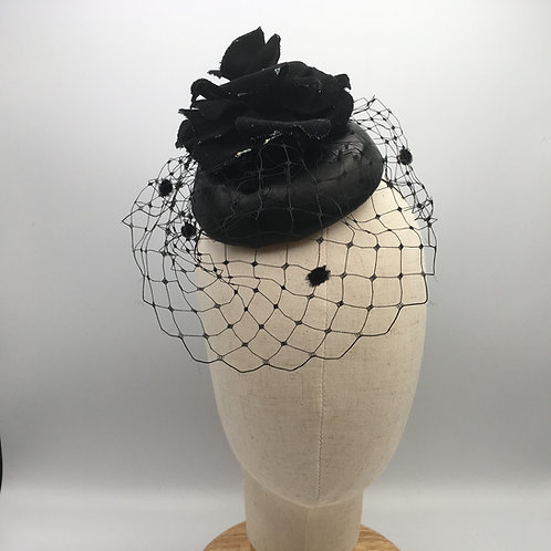 Rosemary - Black leather button cocktail hat with a hand made velvet flower