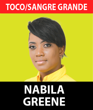 Nabila, a young, ambitious, and successful woman of Toco/Sangre Grande, has always been active within the constituency since the days of Dr. Rupert Griffith. At just 29 years of age, she has spent most of her adult life working for the people of Toco/Sangre Grande.  Born and bred in the constituency, she presently resides in the bustling community of Sangre Grande, having spent her formative years in the beautiful village of Grande Riviere.  Nabila holds a bachelor's in psychology from the University of the Southern Caribbean and a certificate in restorative practices from the International Institute of Restorative Practices. She is presently the Youth officer of the Grand Riviere Village Council as well as the president of the Toco Youths United group.  As a young person, Nabila has always believed in the UNC and the leadership of Kamla Persad Bissessar and her ability in taking the nation forward. She continues to believe that the UNC's ideology of inclusion, representation, and development all falls in line with her own personal beliefs.  Ms Greene is also of the firm belief that the plans presented by the UNC for the people of Toco/Sangre Grande, and by extension the nation, are the best possible plans to transform and take our economy and people forward.  Nabila Greene, a woman who reflects Kamla Persad Bissessar's mantra of marrying youth with experience will be a new and young addition to the Parliament as the Member for Toco/Sangre Grande.