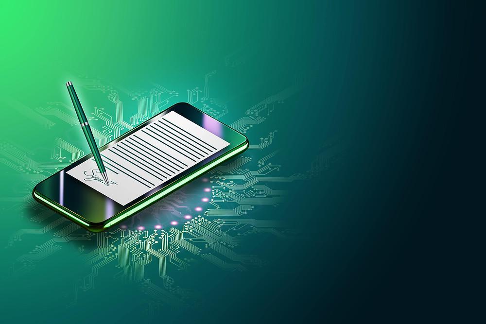 Assinatura eletronica em um celular