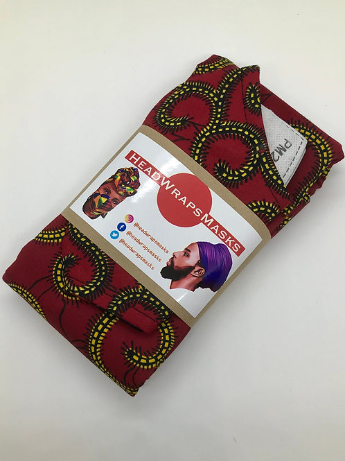 Red Pillar Headwrap and Mask set