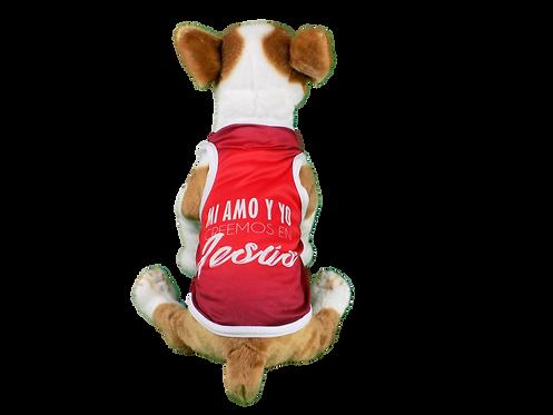 "Dog T-Shirt Dog Shirt with Inspirational Messages ""Mi amo y yo creemos en Jes?s"""