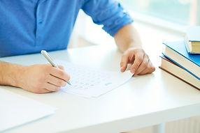 תלמיד, מבחן, עט, ידיים, ספר