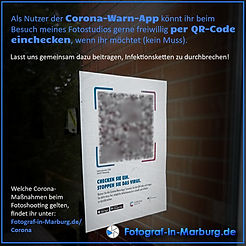 Per Corona-Warn-App im Fotostudio einchecken