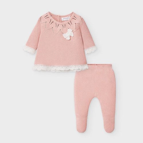 Knit footed leggings set for newborn girl