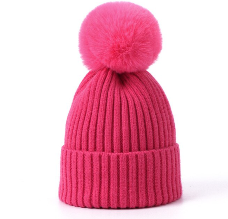 Soft pompom Knitted Hat:Cerise 2-4yrs