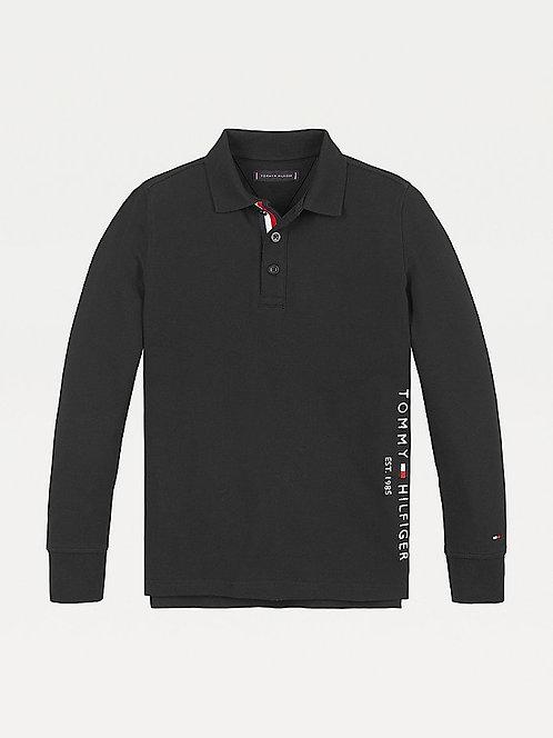 Tommy Hilfiger Essential Polo Shirt Long Sleeve: Black
