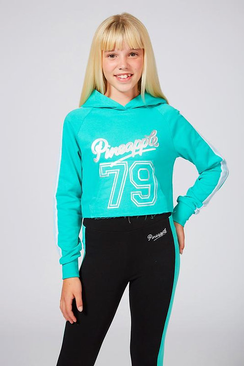 Pineapple Dance Girls Mesh Stripe Crop Hoodie