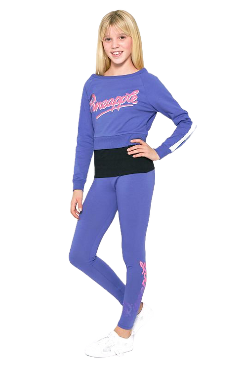 Pineapple Dancewear Girls Long Sleeve Double Layer Top-blue