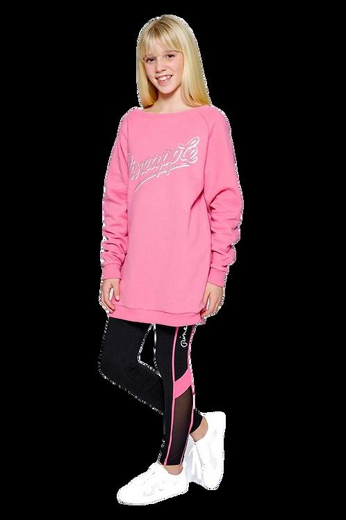 Pineapple Dancewear Girls Oversized Fleece Sweatshirt in pink