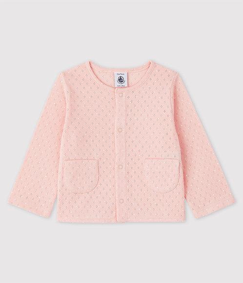 Petit Bateau-Baby Girls' Ribbed Cardigan in pink