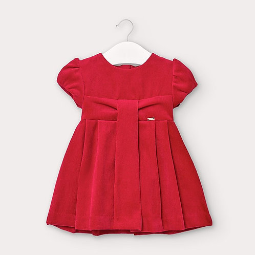 Mayoral Micro-corduroy dress for baby girls in red