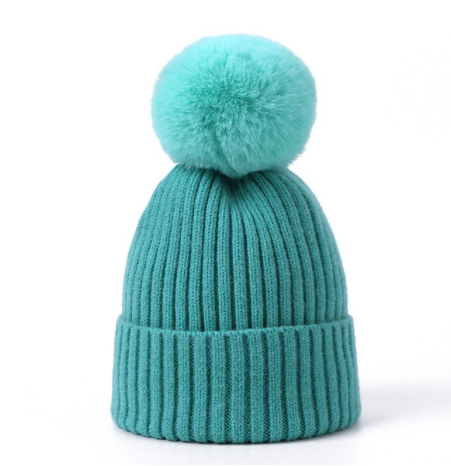 Soft pompom Knitted Hat:Jade  2-4y