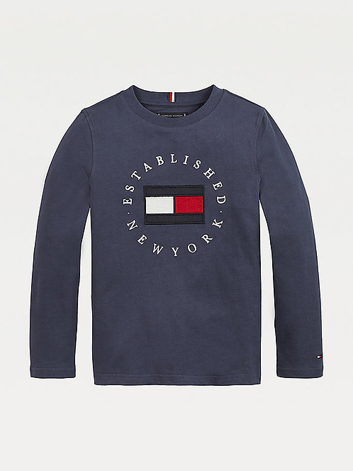 Tommy Hilfiger Organic Cotton Long Sleeve Top: Navy