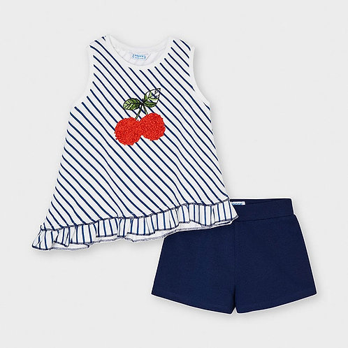 Mayoral striped short set Ink